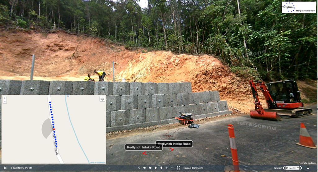This video demonstrates how to use TerraScene's web interface to view the 'interactive panoramas and map interface.  In January 2019 there was severe flooding in Redlynch Valley in Cairns, Australia. Here is TerraScene's video of 360° interactive photos from a severe landslip. This is a time series of 360° photos with 4 dates in 2019 and 2020.